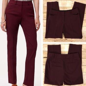 Ann Taylor Loft Julie Straight Burgundy Trousers.